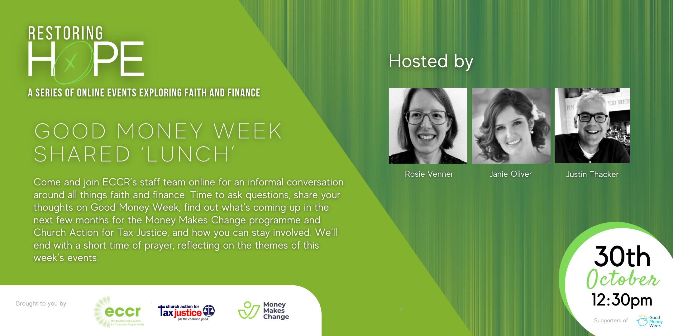 Restoring Hope | Good Money Week 'shared' lunch