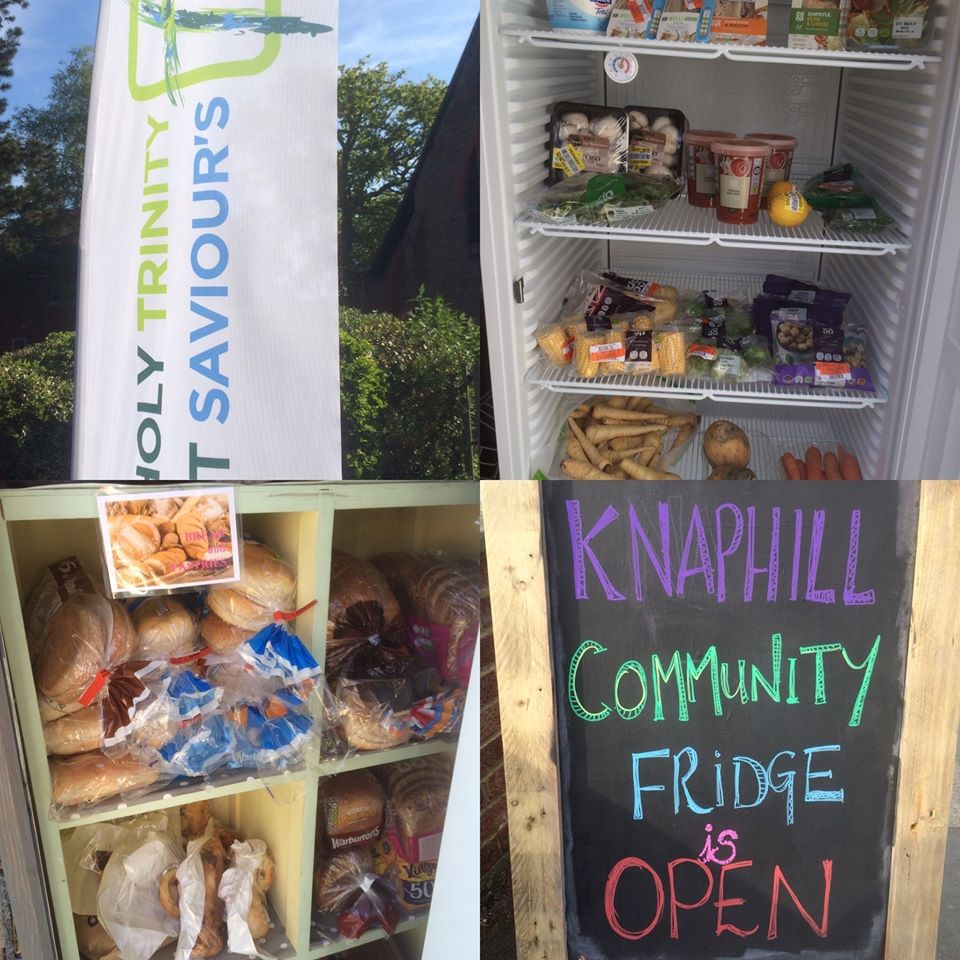 Image shows a community fridge with the sign 'Knaphill Community Fridge is Open'